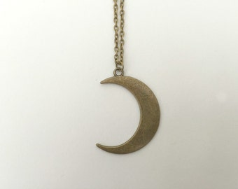 moon necklace, crescent moon, boho, hippy, half moon necklace, moon, waxing moon, waning moon, celestial, 90's necklace, hippie necklace