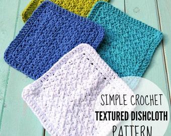Crochet Textured Dishcloth Pattern, Crochet Dishcloth Pattern, Crochet Washcloth Pattern - Printable PDF Download
