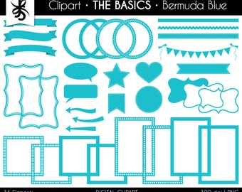 Digital Clipart-The Basics-Bermuda Blue-Turquoise-Digital Elements-Frames-Arrow-Flags-Banner-Labels-Ribbon-Borders-Instant Download Clip Art
