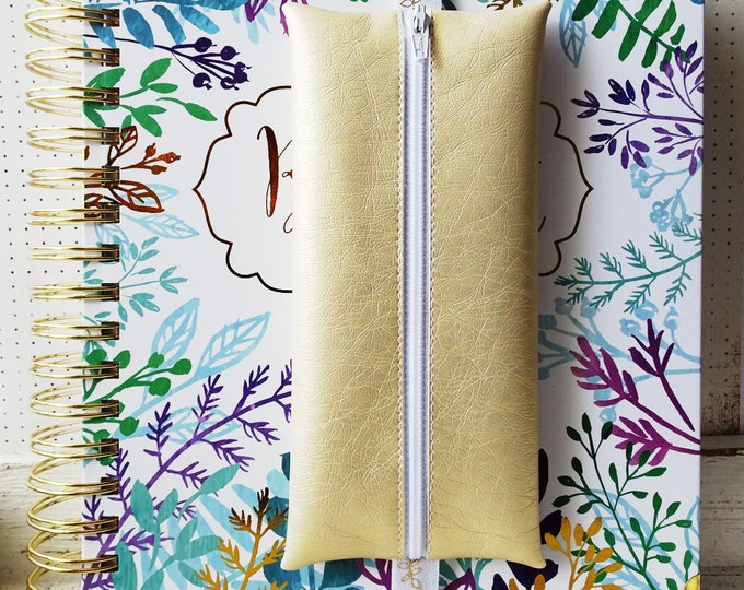 Brilliant Life Planner pouch in gold faux leather