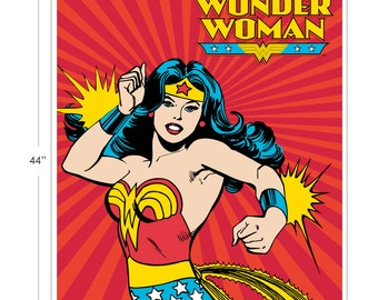 Wonder Woman Fabric Panel - Camelot Cotton Fabric -DC Comics - Fabric by the yard