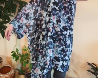 Over-sized Long Chiffon Tunic Assymetric Tunic  Loose Top Midi Dress Plus Sizes Tunic & Nara TSH016
