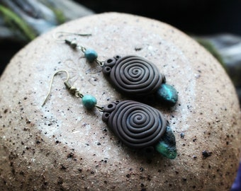 Turquoise Earrings. Clay & Gemstone. Sacred Spiral... Clay with Healing Gemstone and Crystal Jewelry.