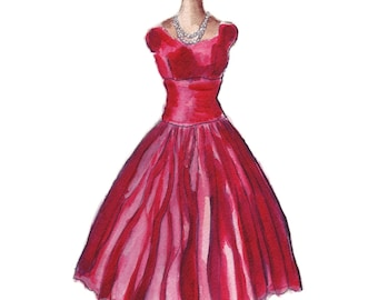 Fashion Illustration Watercolor Painting - Vintage Red Dress Fashion Watercolor Art Print, 5x7