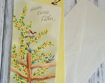 Vintage Easter Card, Yellow With Dogwoods And Blue Birds, Happy Easter To Father, Unsigned Unused Vintage Easter Card, Fathers Easter Card