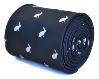 navy blue tie with rabbit design with signature floral design to the rear by Frederick Thomas FT2132