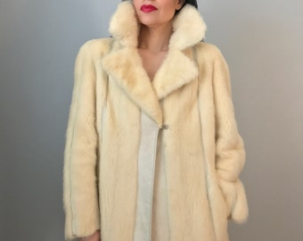 70s fur coat | white mink fur and leather coat