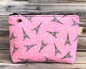 Pink and Black Eiffel Tower Zippered Pouch