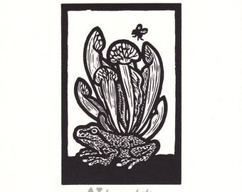 Insectivores Pacific Tree Frog and Pitcher Plant woodcut print