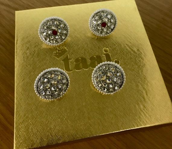 Arla 2 pack silver zirconia stud earrings tops indian kundan pakistani jewellery
