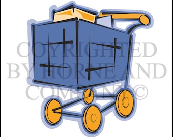 Vector Clipart Grocery Cart 0002 or Shipping Cart 0002