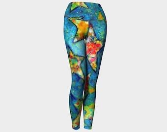 Stars/Yoga Leggings/Dance Pant/Yoga Pants/Unisex Leggings/Workout/Dancewear/Turquoise Blue/Hot Yoga/Mom/Stretch Pants/Women Leggings Gift