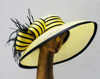 Kentucky Derby hat, yellow with black hat, widebrim hat,  Tea party hat, Wedding Party hat, Royal Ascot hat, derby style hat, Edwardian hat
