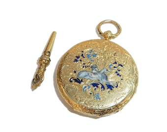Victorian 18 Carat Gold Swiss Pocket Watch With Greyhounds