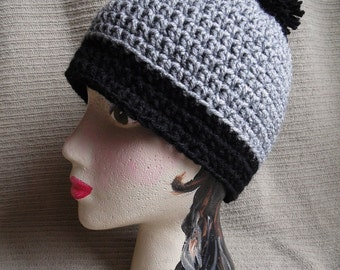 Emo Hat, Beanie with Stripe, Two Color Beanie with Puff Ball, South Park Boys, cosplay hat, beanie, halloween cosplay
