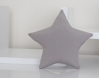 Mini STAR PILLOW CUSHION - Solid Cotton - Gray - Nursery Baby Room Decor Decoration - Soft Toy