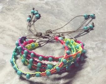 2 Bracelets - Tie Dye - Beaded Bracelets - Friendship Bracelets - Beach Lovers - Bohemian Jewelry - Funky Jewelry - Stacking Bracelets