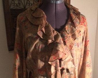 SALE SALE SALE Vintage cowgirl Ralph Lauren sz S/P ruffled blouse/Prairie top/