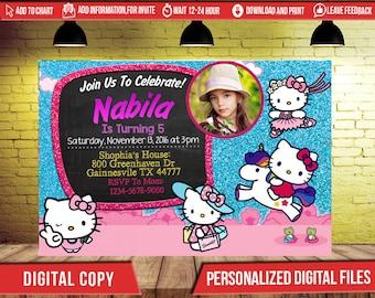 Hello Kitty Invitation,Hello Kitty Birthday Invitation,Hello Kitty Birthday,Hello Kitty Party,Girl Birthday Party,Hello Kitty Invite SL