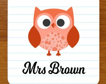 Teacher Owl Drinks Coaster - can be fully personalised