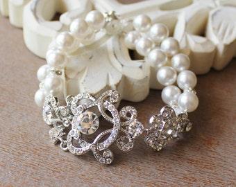 ON SALE Ivory Pearl & Crystal Bridal Cuff, Vintage Wedding Bridal Bracelet, Bridal Jewelry, LONDON