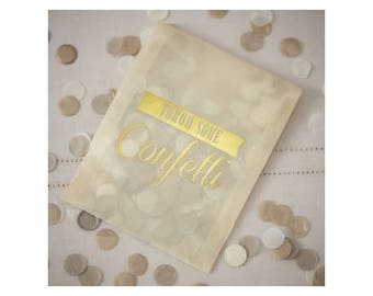 White/gold confetti bag