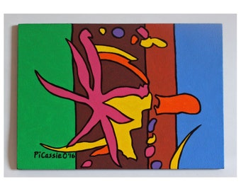 Joyful Acrylic Painting on 5 x 7 panel bright colors by PiCassieO