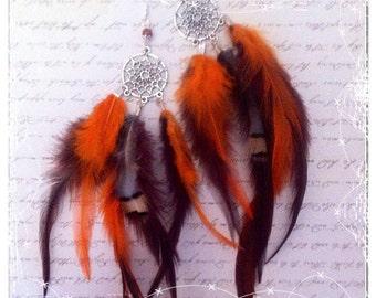 dreamscatcher earrings, feathers earrings, shamanic dreamscatcher