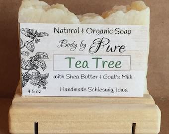 Tea Tree Soap, Goat Milk Soap,Handmade Soap, All Natural Soap,  Anti-fungal Soap, Antibacterial Soap, Natural Melaleuca Soap 4.5 ounces.