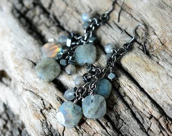 Labradorite Dangle Earrings, Labradorite Earrings, Cluster Earrings, Women's Earrings, Boho Earrings, Bohemian Earrings, Gift for her