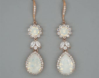 Rose Gold Wedding Earrings - Crystal Drop Earrings - Opal Bridal EArrings - Swarovski Crystal Wedding Jewelry for Brides - Silver or Gold