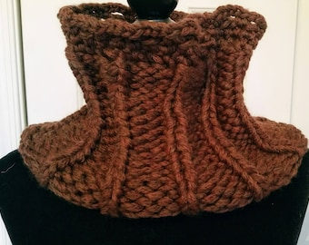 Wool Knitted Cowl, Cowl, Brown, Wool Knit