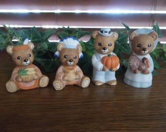Homco Thanksgiving Hand Painted Bears, Set of 4