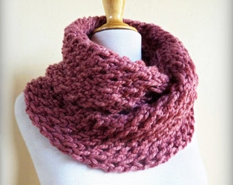 ANTIQUE Rose (or Choose color) infinity scarf / cowl - wool blend - chunky - fashion accessories - gift