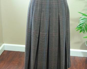 Vintage David N. Plaid Pleated Wool Skirt - S (B1)