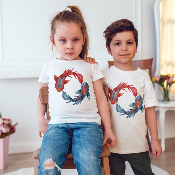 Yin Yang Koi Fish | Unisex kids T-shirt | American apparel for children and toddlers | original watercolor artwork | graphic tee |