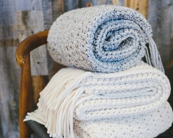 HOMEWARE SALE The Nantucket Throw Blanket - GREY Marble (ready to ship) // Chunky Knit Throw Blanket. Knitted Crochet Wool Afghan