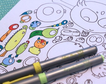Kids Adult Printable Coloring Page Aliens Character Doodle Original Art Instant pdf Digital Download