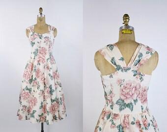 80s Floral Dress / Vintage Cotton Dress / 50s Dress / Cross Back Dress / 1950s Dress / Full Skirt / Size S/M