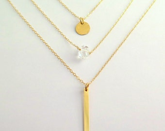 Long Vertical Bar Necklace • Geometric • Layering Necklace • Vertical Bar • Minimal • Dainty Gold Necklace • Gold Fill • Silver • Simple