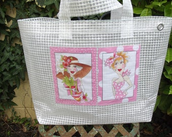 large clear plastic canvas Beach tote bag