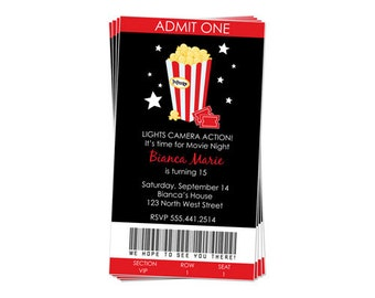50% Off Sale! - PRINTABLE Movie Night Party Invitation