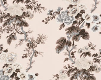 Custom Drapes, Schumacher Pyne Hollyhock, Blush Pink Gray White, Double Pinch Pleat Header Euro Pleat Chintz Floral Pattern, Sold in Pairs