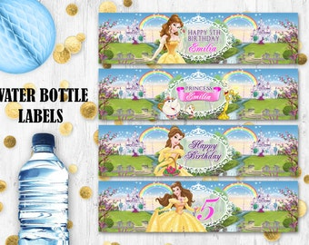 Princess Belle Water bottle labels Beauty and the Beast Printable digital labels