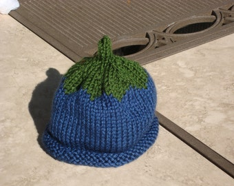 newborn baby infant blueberry knit hat beanie  Maine Michigan baby gift fruit cap