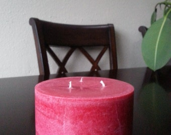 3 wick, round, mottled pillar candle -scented