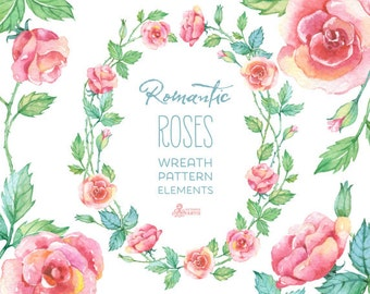 Romantic Roses: wreath, patterns, floral elements watercolor Clipart. Hand painted, floral, wedding diy, quote, flowers, invite, roses, png