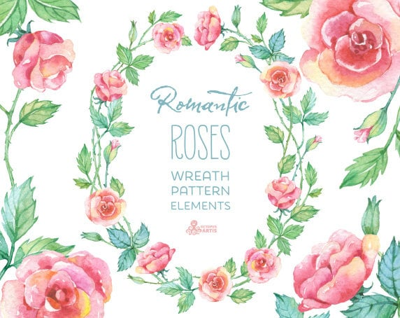 Romantic Roses Wreath Patterns Floral Elements Watercolor