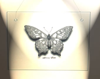 Butterfly on Glass. Ink drawing butterfly printed on glass.