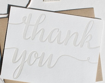 Letterpress Thank you card set, folded thank you cards in calligraphy